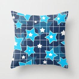 Light blue stars Throw Pillow