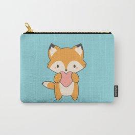 Kawaii Cute Fox With Hearts Carry-All Pouch