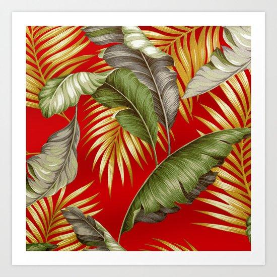 HAWAIIAN GARDEN TROPICAL LEAVES | tomato red gold Art Print