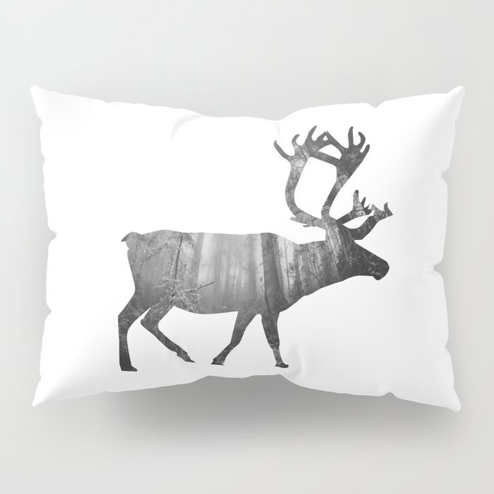 Moose Silhouette   Forest Photography Pillow Sham