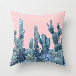 Milagritos Cacti on Rose Quartz Background Throw Pillow