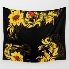 Golden floral ornament Wall Tapestry