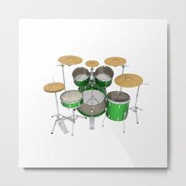 Green Drum Kit Metal Print