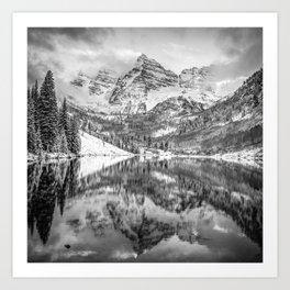 Colorado Maroon Bells Monochrome Mountain Landscape Art Print
