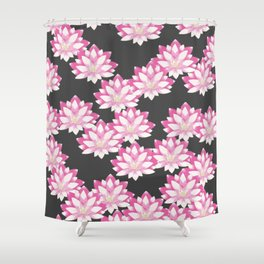 Lotus pattern on dark gray Shower Curtain