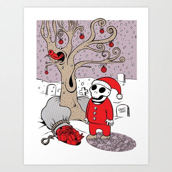 SANTA'S RED BIRD Art Print