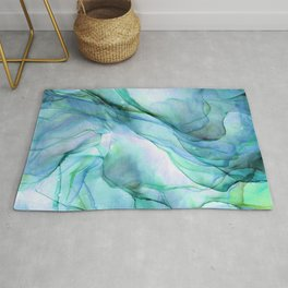 Aqua Turquoise Teal Abstract Ink Painting Rug