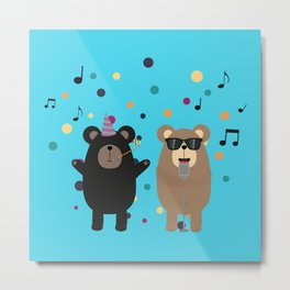 Party Bear Metal Print