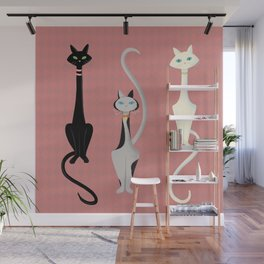 Midcentury Modern Sleek And Stylish Parisian Kitty Cat Trio Wall Mural