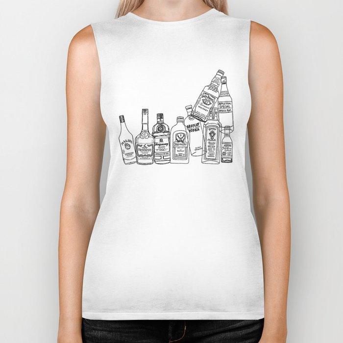 Alcohol Bottles (White) Biker Tank