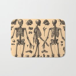 Vintage Human Skeleton Anatomy Diagram (1907) Bath Mat