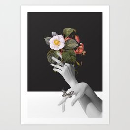 Hands With Flowers Art Print