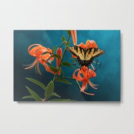 Eastern Tiger Swallowtail Butterfly On Orange Tiger Lily Metal Print