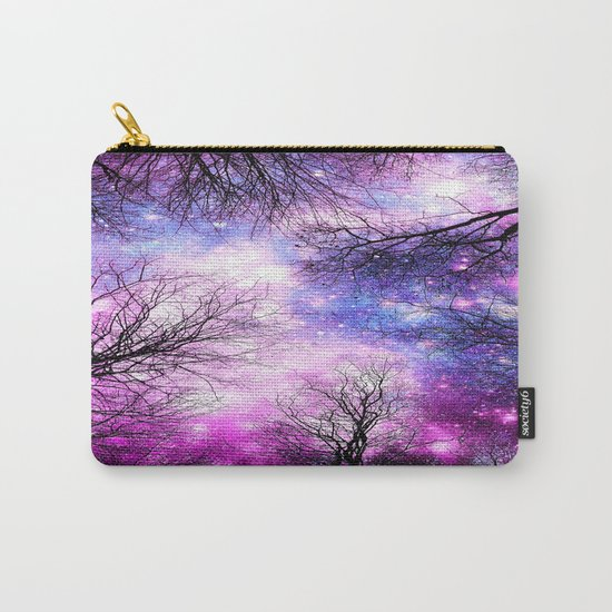 Black Trees Purple Fuchsia Blue Space Carry-All Pouch