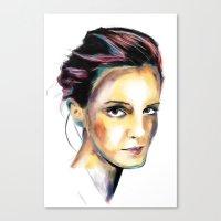 emma watson Canvas Prints featuring Emma Watson by caffeboy