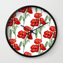 Watercolor Red Poppies Wall Clock