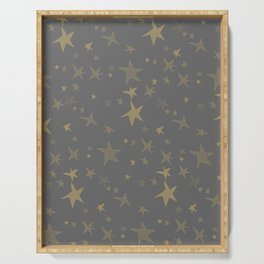 Antique Gray-Gold Stars Serving Tray