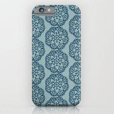 Navy blue lace floral iPhone 6s Slim Case