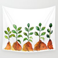 succulents Wall Tapestries featuring Succulents by Gosia&Helena