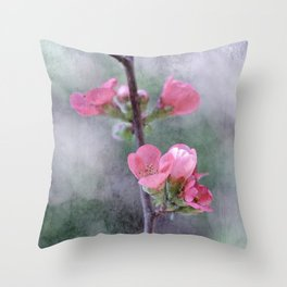 Chaenomeles Japonica Throw Pillow