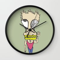muscle Wall Clocks featuring Muscle Man by choifeelsun