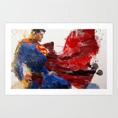 Watercolour Superman Art Print