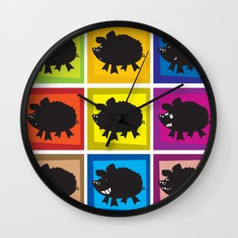Pig in different moods Wall Clock