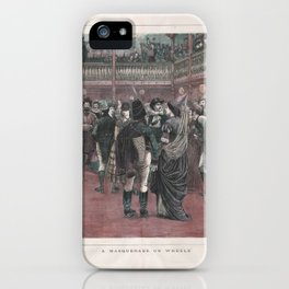 Masquerade on Rollerskates print of hand colored old woodcut iPhone Case