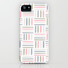 Linear Weave // Basket Weave Design in pastel colours, pink, white, grey, olive  iPhone Case