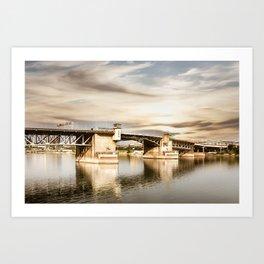 View of the Burnside Bridge at the WIllamete River, Portland. Art Print