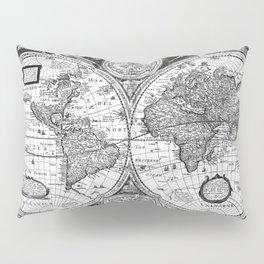 Black and White World Map (1651) Pillow Sham