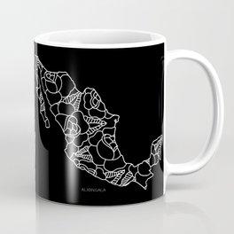 Mexico Map White Outline Coffee Mug