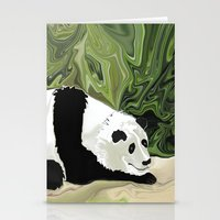 lee pace Stationery Cards featuring Driving at Panda Pace by Distortion Art