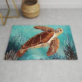 Metallic Sea Turtle Rug