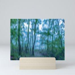 Intentional camera movement, forest, blue green version Mini Art Print