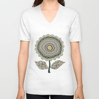 mineral V-neck T-shirts featuring Fabby Flower-Mineral colors by Groovity
