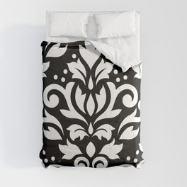Scroll Damask Large Pattern White on Black Comforters