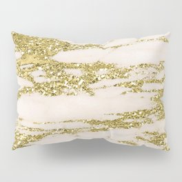 Marble - Gold Marble Glittery Light Pink and Yellow Gold Pillow Sham