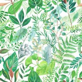Window Curtain - greenery watercolor pattern - anyuka
