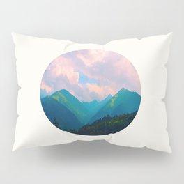 Mid Century Modern Round Circle Photo Graphic Design Colorful Pastel Mountain Landscape Pillow Sham