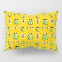 Frogs & Dragonfly Pattern Pillow Sham