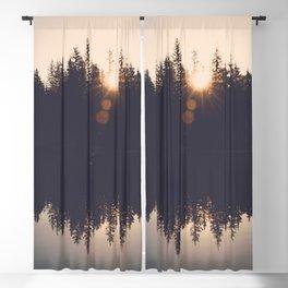 Wooded Lake Reflection  - Nature Photography Blackout Curtain