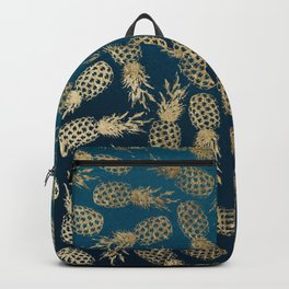 Elegant faux gold navy blue ombre pineapple Backpack