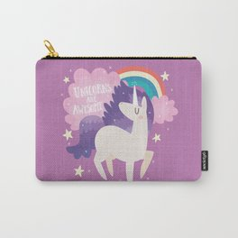Unicorns Are Awesome With Clouds and Rainbow Carry-All Pouch