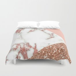Marble - pink and gold Duvet Cover
