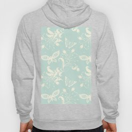 Butterfly And Floral White Light Blue Background Hoody
