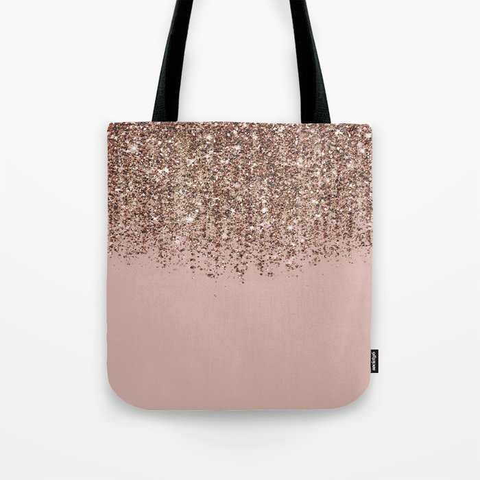 Blush Pink Rose Gold Bronze Cascading Glitter Tote Bag
