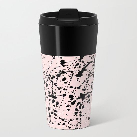 Splat Black on Blush Boarder Metal Travel Mug