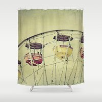 ferris wheel Shower Curtains featuring Ferris Wheel by whimsy canvas