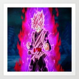 Black Goku Super Saiyan Rosé Art Print